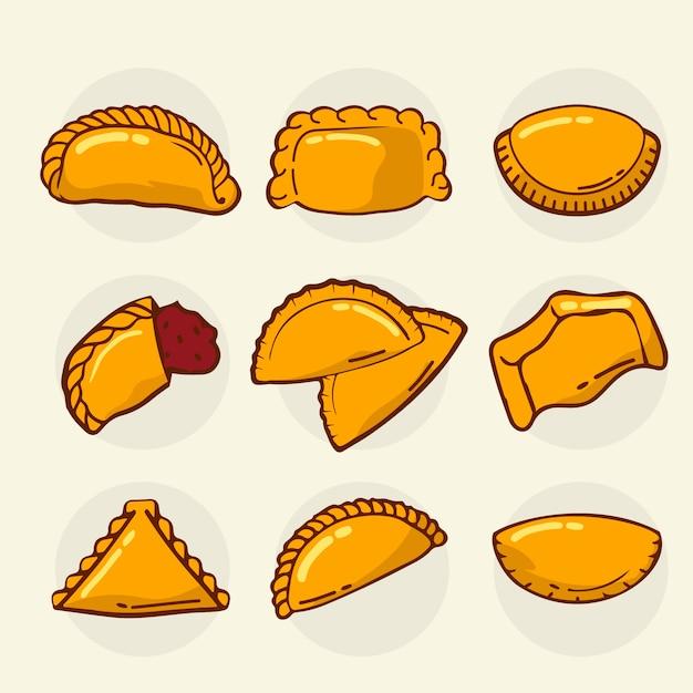Colección de deliciosas empanadas al horno vector gratuito