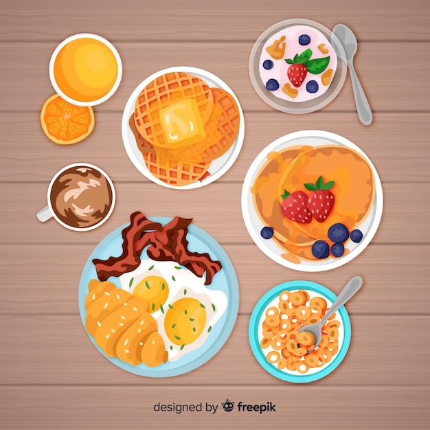 Colección desayuno realista vector gratuito