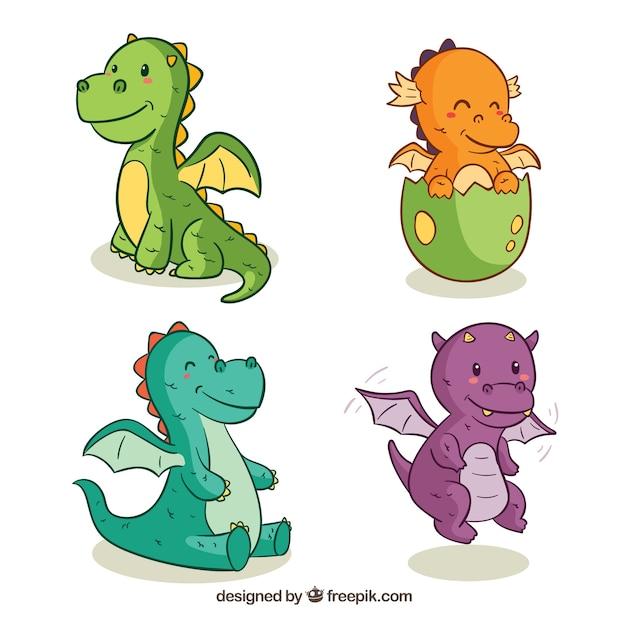 Colección dibujada a mano de personajes de dragones bebés ...