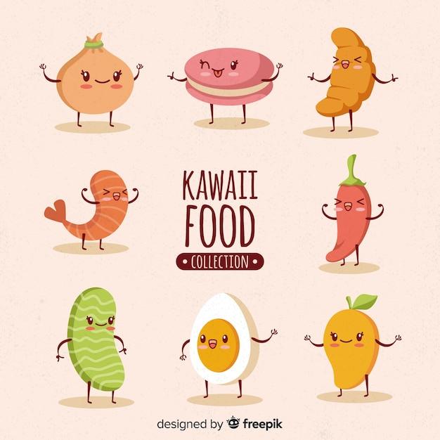 Colección dibujada a mano comida kawaii vector gratuito