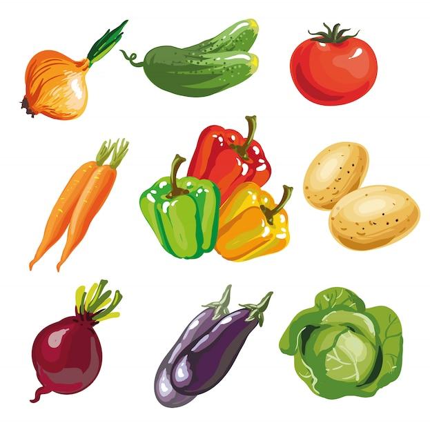 Colección dibujada mano determinada de la historieta de la verdura. Vector Premium