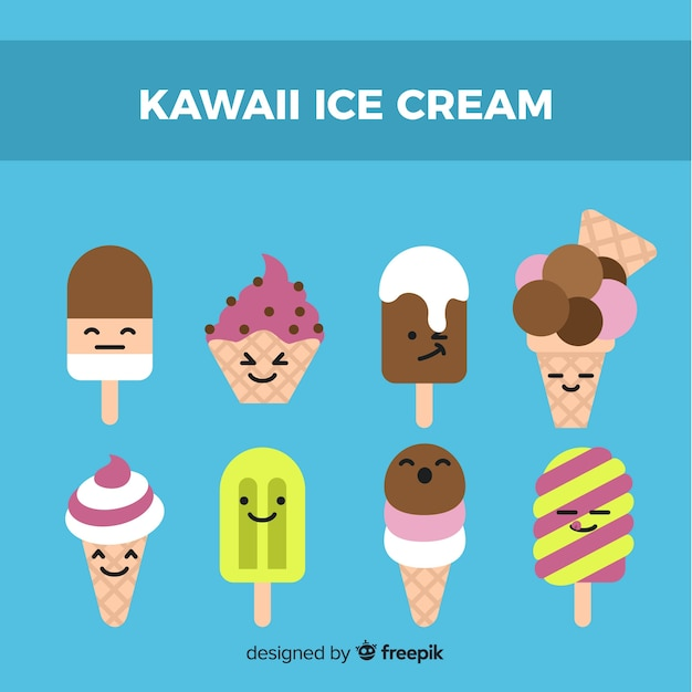Colección dibujada a mano helados kawaii vector gratuito