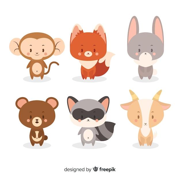 Colección de dibujos animados de animales salvajes vector gratuito