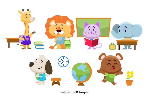 Colección de dibujos animados con concepto de regreso a la escuela vector gratuito