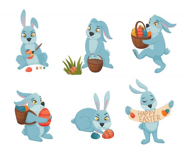 Colección de dibujos animados de conejitos de pascua vector gratuito