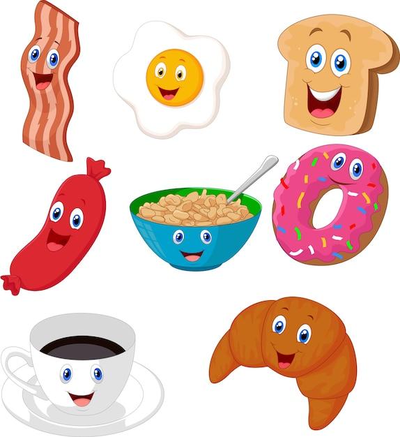 Colección de dibujos animados de desayuno Vector Premium