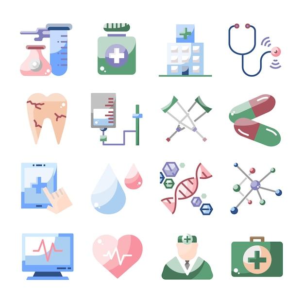 Colección De Dibujos Animados Diseño Médico De Salud Plana