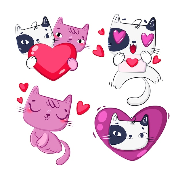 Colección de dibujos animados de gato en el amor vector gratuito