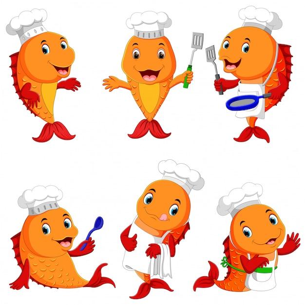 Colección de dibujos animados lindo chef de pescado Vector Premium
