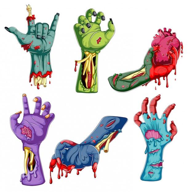 Colección de dibujos animados de manos zombie sobre fondo blanco Vector Premium