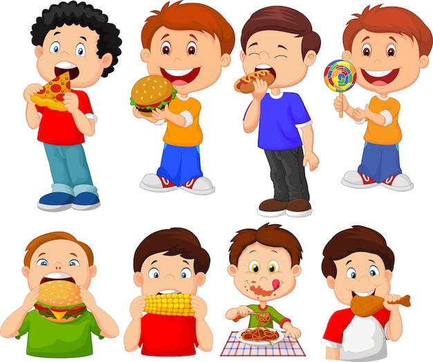 Colección De Dibujos Animados Niño Comiendo Comida Rápida Vector Premium