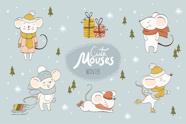 Colección de dibujos animados de ratones lindos. animales de invierno Vector Premium