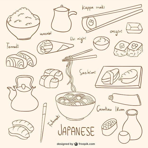 Coleccion De Dibujos De Comida Japonesa Vector Gratis
