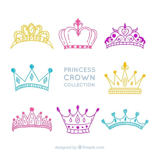 Colección De Dibujos De Coronas De Princesas Descargar Vectores Gratis