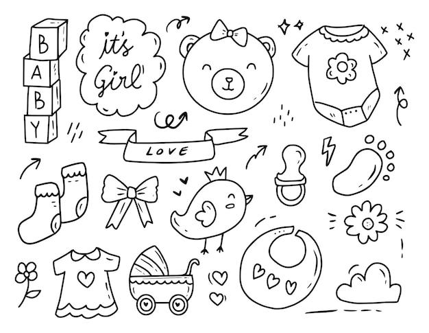 Colección de dibujos de doodle de fiesta de ducha de bebé recién nacido Vector Premium