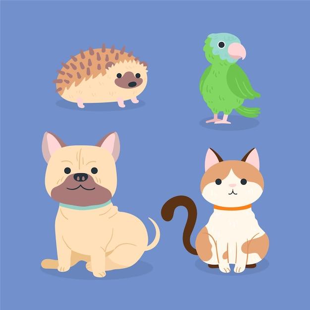 Colección de diferentes mascotas domesticas vector gratuito