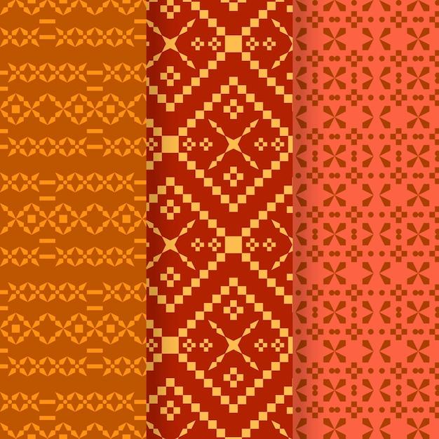 Colección de diferentes patrones de songket. vector gratuito
