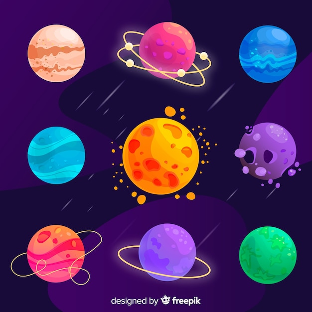 Colección de diferentes planetas planos coloridos Vector Premium