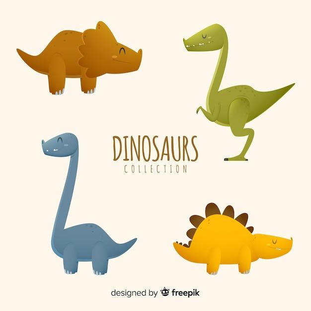 Colección de dinosaurio en diseño plano vector gratuito