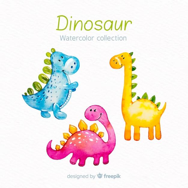 Colección de dinosaurios en acuarela vector gratuito