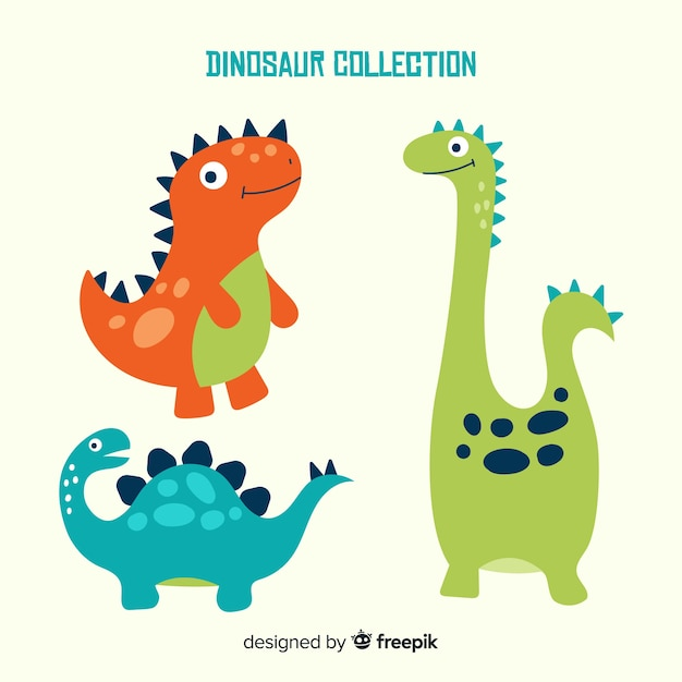 Colección de dinosaurios dibujados a mano vector gratuito