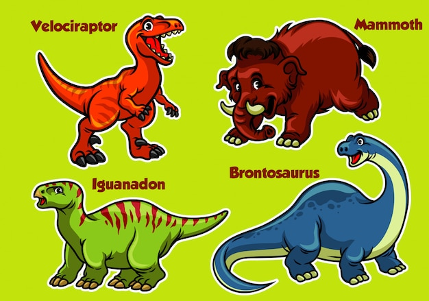 Colección de dinosaurios de dibujos animados Vector Premium
