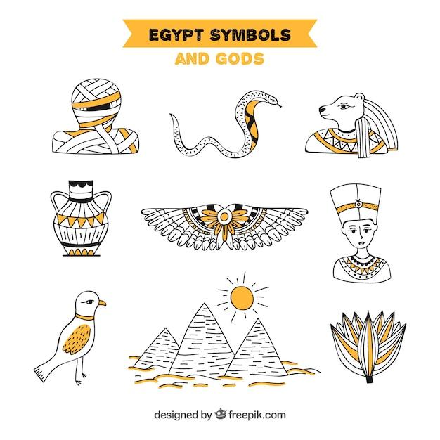 Colección de dioses y símbolos egipcios dibujados a mano vector gratuito