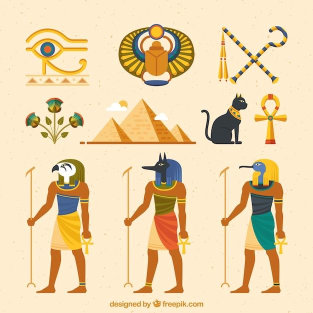 Colección de dioses y símbolos egipcios con diseño plano vector gratuito