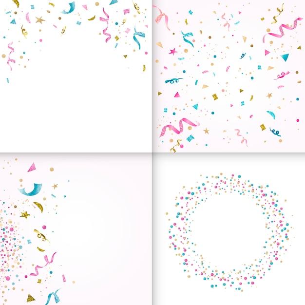 Colección de diseño de confeti colorido vector gratuito