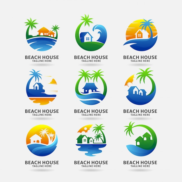 Colección de diseño de logo de casa de playa Vector Premium