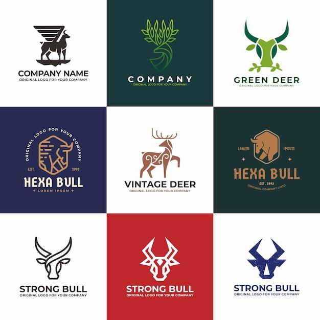 Colección de diseño de logo de ciervos, toros, vacas, búfalos. Vector Premium