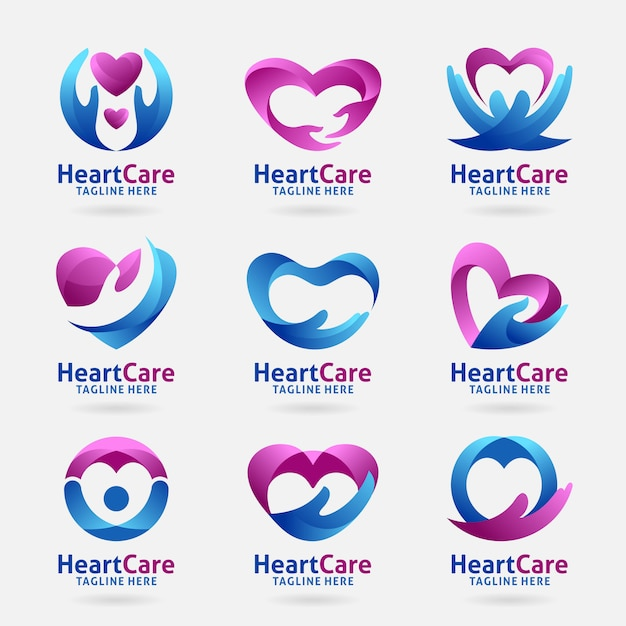 Colección de diseño de logotipo de cuidado del corazón Vector Premium