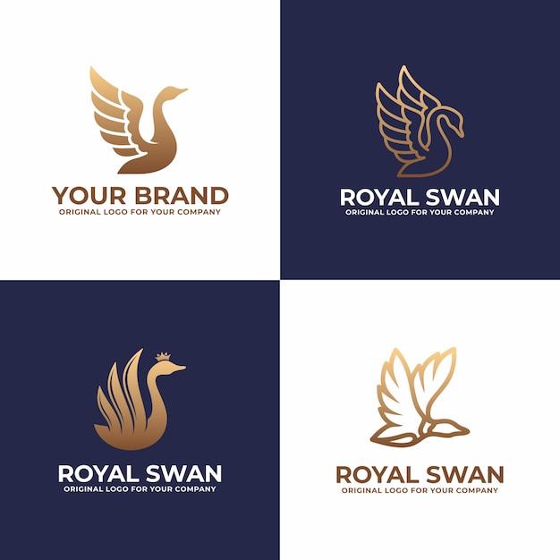 Colección de diseño de logotipo de lujo swan. Vector Premium