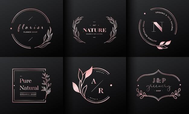 Colección de diseño de logotipos de lujo. emblemas de oro rosa con iniciales y decoración floral para logotipo de marca, identidad corporativa y diseño de monograma de boda. vector gratuito