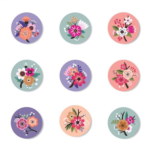 Colección de diseño de pin con beautiful floral Vector Premium