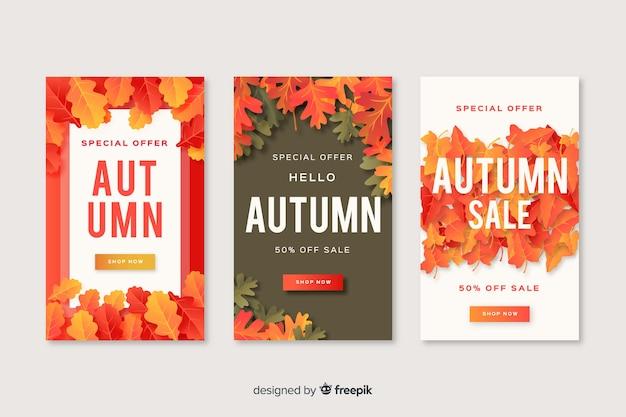 Colección de diseño plano de banner de ventas de otoño vector gratuito