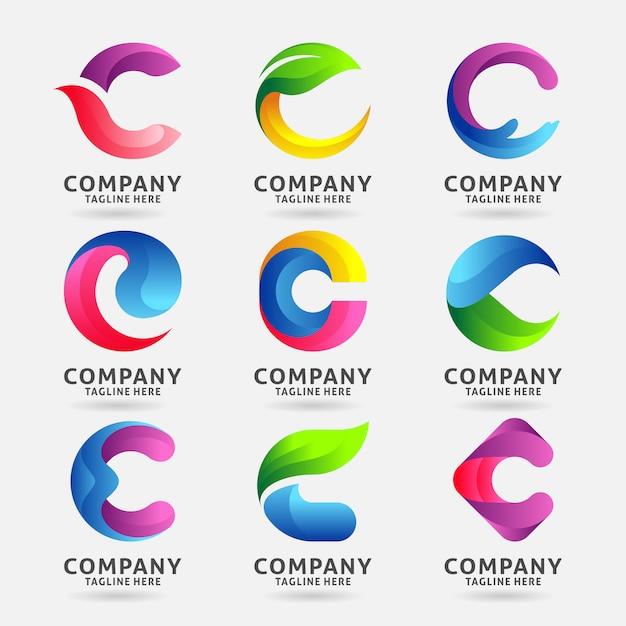 Colección de diseño de plantilla de logotipo moderno letra c Vector Premium