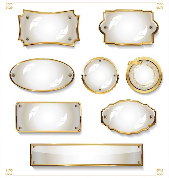 Colección de diseño vintage retro de etiquetas blancas vacías doradas Vector Premium