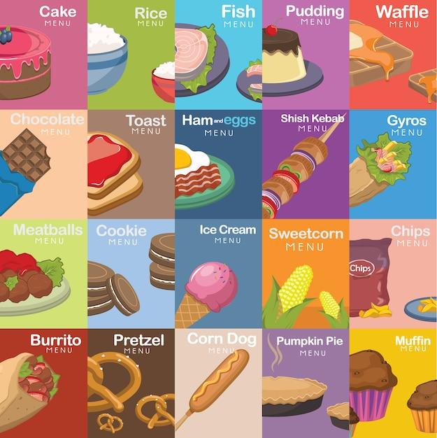 Colección de diseños de comida vector gratuito