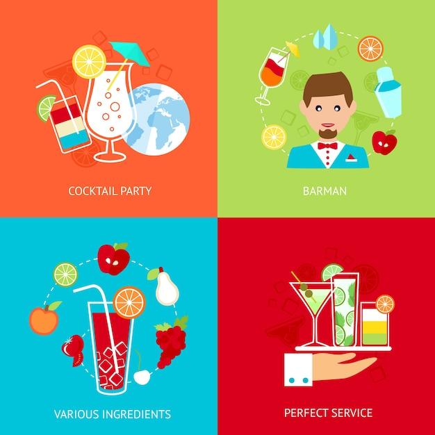 Colección de diseños de fiesta de cócteles vector gratuito
