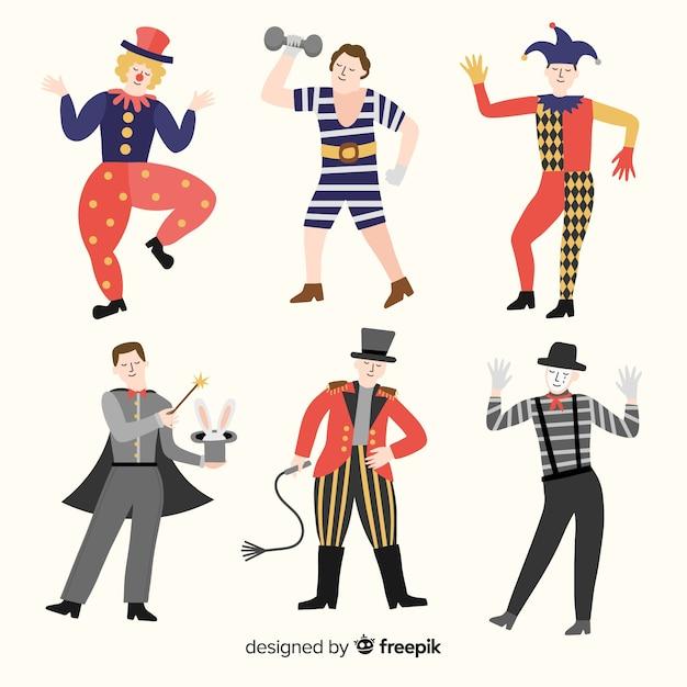 Colección disfraces circo carnaval planos vector gratuito