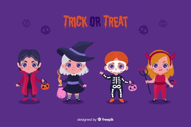 Colección de disfraces de halloween para niños en diseño plano Vector Premium