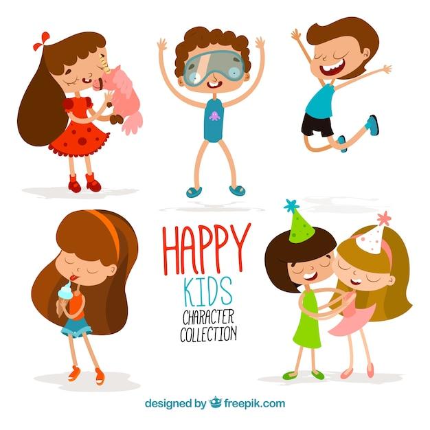 Colección divertida de niños felices de dibujos animados ...