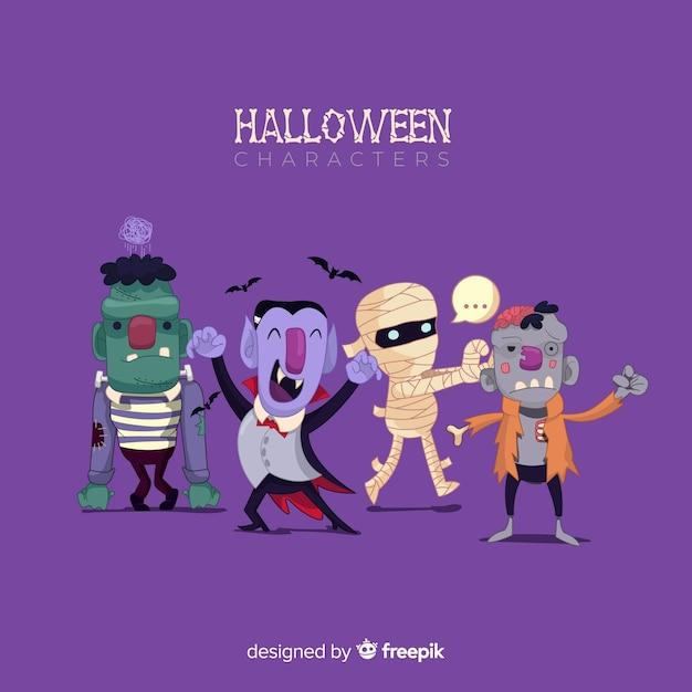 Colección divertida de personajes de halloween con diseño plano vector gratuito