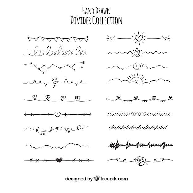 Colección de divisores dibujados a mano vector gratuito