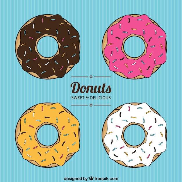 Colección donuts vector gratuito