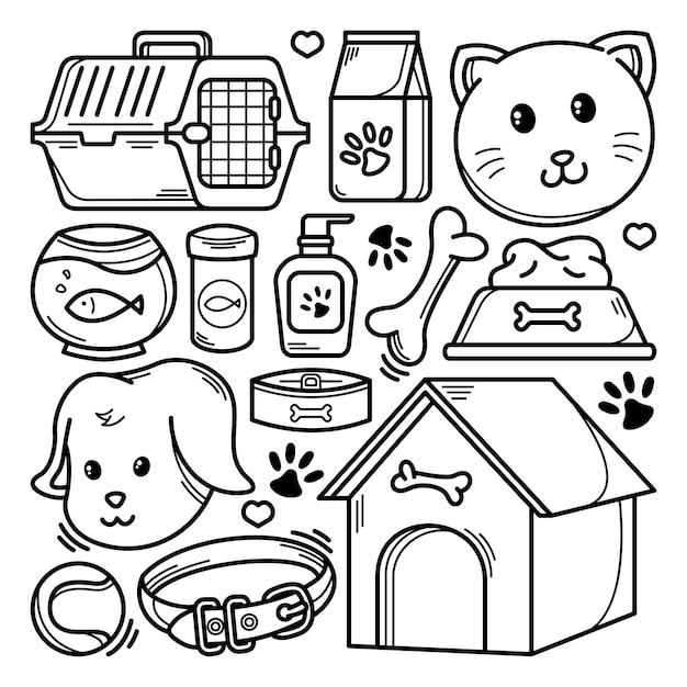 Colección de doodle de mascotas Vector Premium