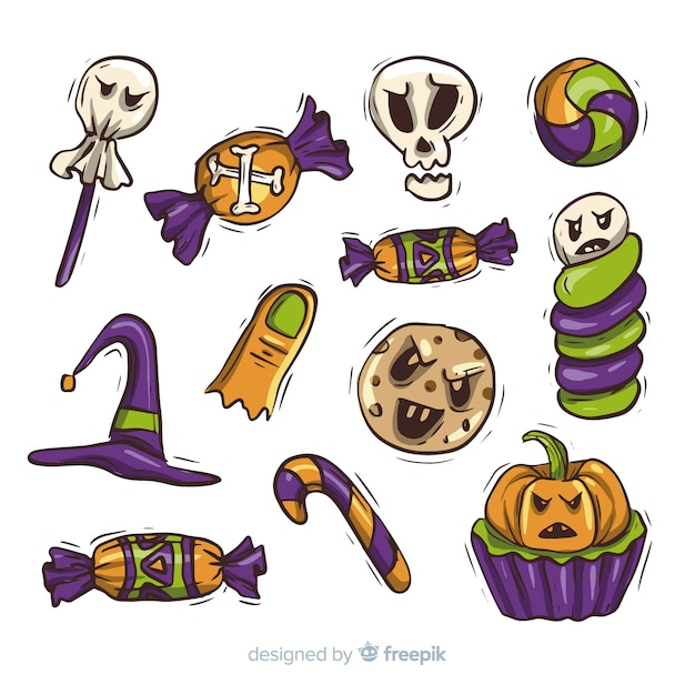 Colección de dulces de halloween dibujados a mano vector gratuito