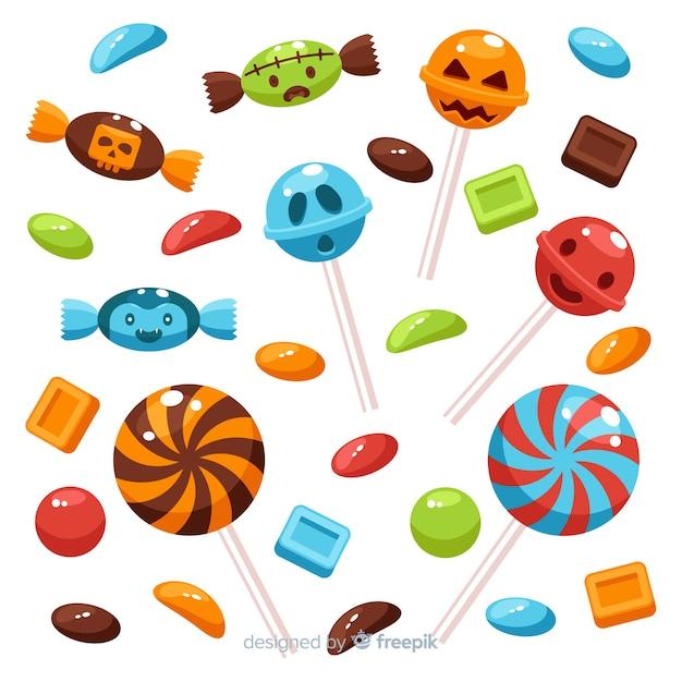 Colección de dulces de halloween de diseño plano vector gratuito