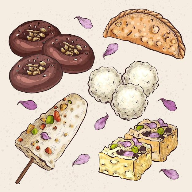 Colección de dulces indios dibujados a mano vector gratuito